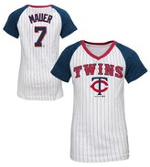 MLB Minnesota Twins Girls' Joe Mauer Pinstripe T-Shirt Jersey