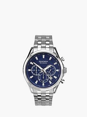 Sekonda 1393.27 Men's Chronograph Date Bracelet Strap Watch, Silver/Blue
