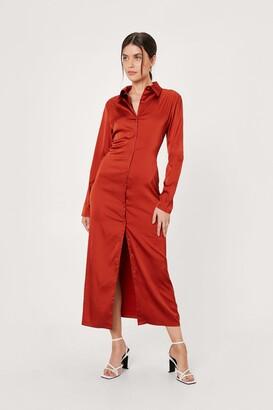 Nasty Gal Womens Satin Button Down Midi Shirt Dress