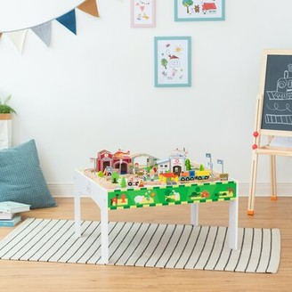 Teamson Kids Preschool Play Lab Toys Country and Train Kids Activity Table Color: White