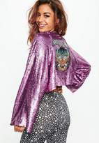 Missguided Pink Sequin Dragon Jacket
