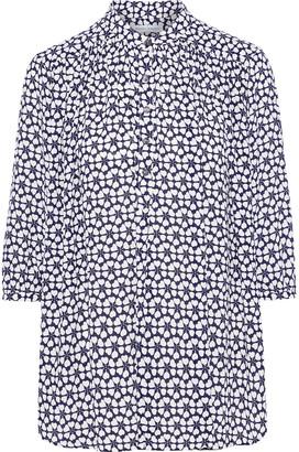 Rebecca Minkoff Fleur Gathered Printed Crepe Shirt