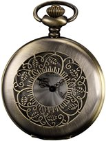 K&S KS Half Hunter Series Men's Analog Quartz Bronze Steel Case Pocket Watch + Chain KSP049
