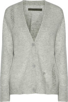 Enza Costa Distressed Mélange Wool And Cashmere-Blend Cardigan