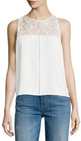 Parker Bart Lace-Inset Sleeveless Top, Pearl