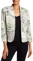 Kasper Pebble Mosaic Printed Crepe Kiss Front Jacket
