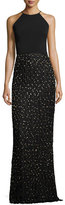 Badgley Mischka Sleeveless Beaded Fringe Column Gown, Black/Gold