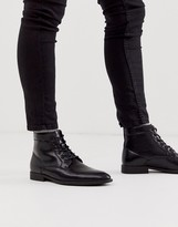 Asos Design DESIGN lace up boots in black faux leather