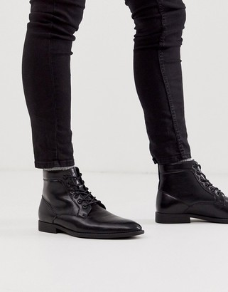 ASOS DESIGN lace up boots in black faux leather