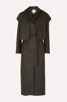 Agnona Leather Trench Coat - Army green