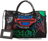 Balenciaga Classic City Graffiti-Print Satchel Bag