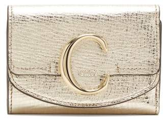 Chloé The C Logo Metallic-leather Wallet - Womens - Gold