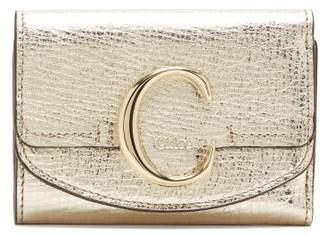 Chloé The C Logo Metallic-leather Wallet - Womens - Gold
