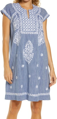 Roller Rabbit Faith Embroidered Chambray Cover-Up Dress