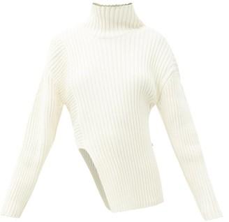 Proenza Schouler Roll-neck Asymmetric Cotton-blend Sweater - White