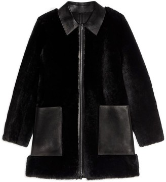 Theory Piazza Coat In Polished Shearling