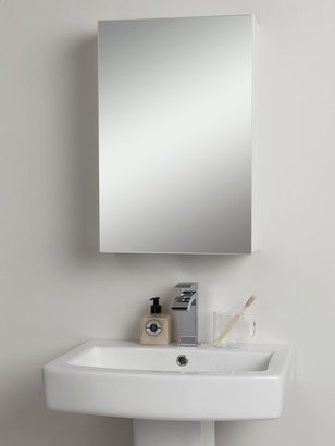 John Lewis & Partners Single Mirrored Bathroom Cabinet, White