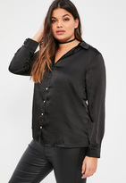 Missguided Plus Size Black Satin Blouse