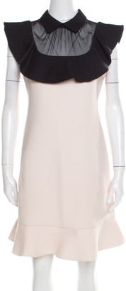 Valentino Beige and Black Ruffled Sheer Panel Detail Flounce Cocktail Dress M