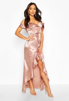 boohoo Satin Strappy Ruffle Maxi Dress