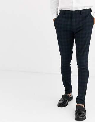 Asos Design DESIGN super skinny suit pants in blackwatch plaid check in navy