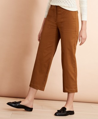 Brooks Brothers Stretch Cotton Twill Cropped Wide-Leg Pants