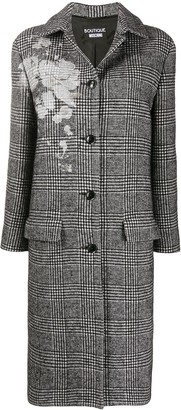 Boutique Moschino Check Single-Breasted Coat