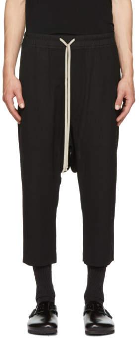 Rick Owens Black Wool Drawstring Trousers