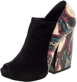 Pierre Hardy Black Suede And Multicolor Snakeskin Block Heel Peep Toe Ankle Booties Size 36
