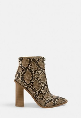Missguided Gray Snake Print Zip Front Ankle Boots