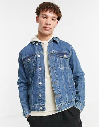 ASOS DESIGN regular denim jacket in mid wash