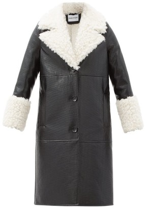 Stand Studio Linda Faux Shearling-trimmed Faux Leather Coat - Black White