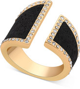 GUESS Gold-Tone Pave & Jet Glitter Bypass Ring