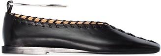 Jil Sander Stitched Leather Ballerina Shoes