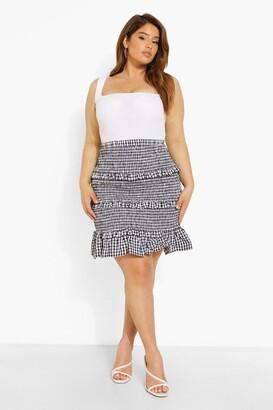 boohoo Plus Gingham Shirred Ruffle Mini Skirt