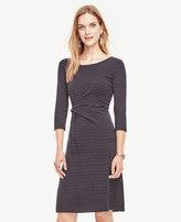 Ann Taylor Petite Pinstripe Ponte Twist Dress