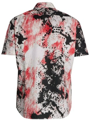 HUGO BOSS Ermino Paint Splatter Slim-Fit Short-Sleeve Shirt