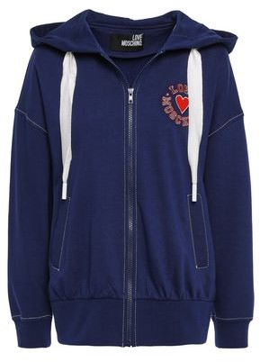 Love Moschino Appliqued French Cotton-terry Hoodie