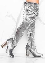 Missy Empire Katrina Grey Crushed Velvet Metallic Heeled Boots