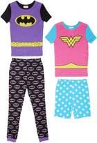 Komar Kids Girls 4 Piece Cotton Pajamas Sleepwear Set with Shorts and Pants