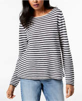 Eileen Fisher Organic Linen Striped Boat-Neck Sweater