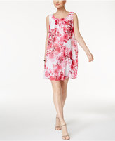 Connected Petite Floral-Print Trapeze Dress