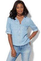 New York & Co. Soho Soft Shirt - Bubble-Hem - Ultra-Soft Chambray