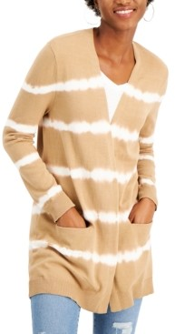 Style&Co. Style & Co Tie-Dyed Open-Front Cotton Cardigan, Created for Macy's