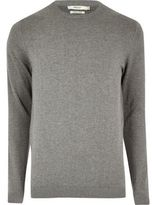 River Island MensGrey marl knit Jack & Jones crew neck sweater
