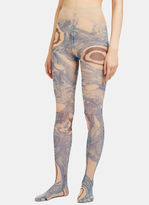 Acne Studios Women's Niola Marbled Eyeball Print Tights in Blue and Nude