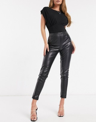 In The Style x Lorna Luxe faux leather leggings in black
