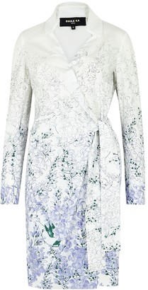 Paule Ka Floral-print poplin wrap shirt dress