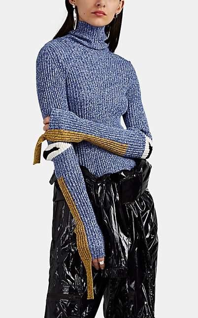 2 1952 Women`s Elbow-Detailed Cotton-Blend Rib-Knit Turtleneck S