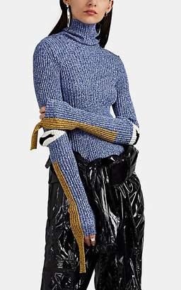 Moncler 2 1952 Women's Elbow-Detailed Cotton-Blend Rib-Knit Turtleneck Sweater - Blue